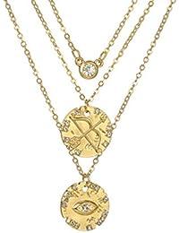 ae9e18600976 ZUXIANWANG Collar de Oro Flecha Color Ojo Colgante Collar Gargantilla de  Cristal para Las Mujeres Charms