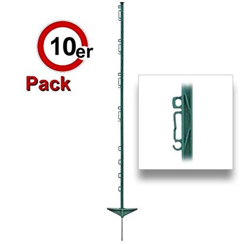 *Göbel Weidezaunpfahl PP Copo GF Kunststoffpfahl 105cm 7 Bandösen 3 Seilösen mit Stahlnagel grün 10 St.*