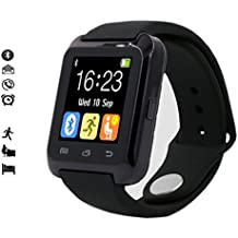 MallTEK Smartwatch Android Bluetooth 3.0 Smart Watch Band Smart Pulsera con Pantalla Táctil de 1,44 Smart Watch Sportif con Múltiples Idiomas Soporte de Smartphone Android Incluyendo HUAWEI, SAMSUNG, Gala HTC, SONY etc. (Negro)