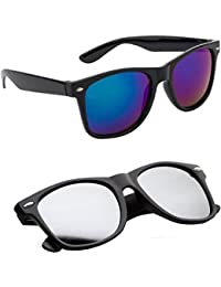 Sheomy Combo Set Of 2 Fashion Wayfarer Goggle And Sunglasses Ideal For Men Women Boys And Girls (Blue Mercury...