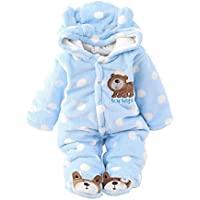 Baby Boys Girls Hooded Snowsuit Cotton Thicken Footed Romper Jumpsuit Outwear Cute Outfits All In One By Shiningup