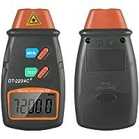 Sin contacto digital láser Fototacómetro, Amplio rango de medición y alta resolución baterías en el interior, RPM exacta sin conjeturar o errores, para motores y piezas de la máquina