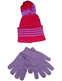 Kids/Childs CERISE PINK Woolly Bobble Winter Hat & Lilac Magic Gloves Set (2-6 Years Approx)