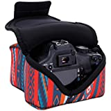 USA Gear Housse Etui Appareil Photo Réflex Numérique en Néoprène Robuste Protection pour vos Appareils DSRL SLR Canon EOS 100D , 700D / NIKON D3300 , Pentax K-S2 Et Plus - Aztec