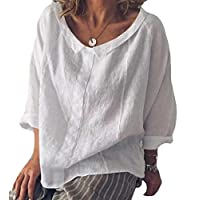 Women Casual Loose Short Sleeve Cotton Linen Tops Shirts Blouse T-Shirts White XXS