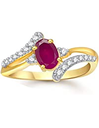 Lady Touch Ruby 24K Gold Plated American Diamond Ring For Girls & Women