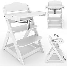 Froggy Treppenhochstuhl für Kinder Holz Kinderhochstuhl optional mit klappbarem Tisch Weiss