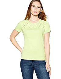 e354630d30a3f Maine New England Womens Lime Broderie Yoke Cotton T-Shirt