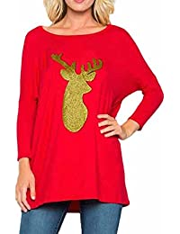 1466cd1c85db SHOBDW Damen Tops Winter Mode Lässig Hirschkopf Drucken Pailletten  Dekoration Outwear Sweatshirt Frauen