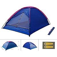 PZJ® Tent Dome, Tentes de camping à double couche à l'extérieur, 2-3 Personnes, Grande Instantanées Tentes Anti UV 4 Places de Camping Plage Randonnée Familiale Exterieur avec Moustiquaire , tente familiale Durable étanche en aluminium 200x120x110cm (Bleu)