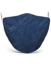 Mascherina in tessuto lavabile stampata, 100% Made in Tuscany, taglia uomo, fantasie varie (Jeans)
