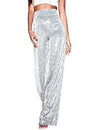 dbd08424aa9 kunfang Pants Womens Sequin Diamond High Waisted Trousers Glitter Wide Leg  Flared Casual Zip Bottoms