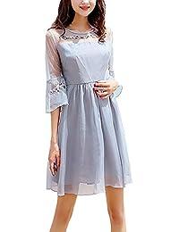 Vestito Estivi Donna al Ginocchio Fashion Linea Ad A Vestiti in Chiffon  Eleganti Locker Rotondo Collo Anni 20… 23f771f891a