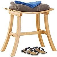 Relaxdays Hocker aus Bambus, elegant geschwungener Sitzhocker f. Garderobe, Holzhocker HxBxT: 48 x 56 x 28,5 cm, natur preisvergleich bei kinderzimmerdekopreise.eu