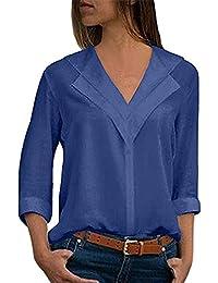 Longra Damen Blusen Langarm beiläufig Elegante Stretch T-Shirt Hemd Lose  Boyfriend Stil Langarmshirt Tops c9ff2f043c