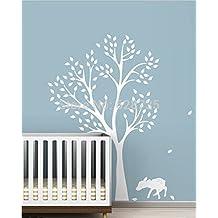Nueva llegada alta calidad 198x141cm Extra Grande Árbol Blanco Adhesivo para guardería habitación, Vinilo Árbol Pared pegatinas para bebé decoración de habitaciones, T3025