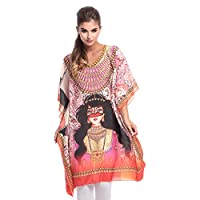 Arabian Clothing Pink Mixed V Neck Kaftan & Kimono For Women