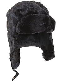 Bonnet trappeur thermique noir en fausse fourrure - Homme