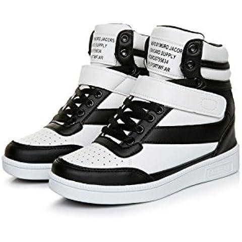 Mujer Clásico Zapatillas de Cuña Zapatos Deportivos Alta Interior Talón Plataforma 7 CM Negro Blanco