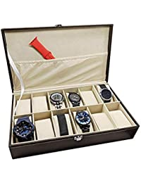 Watch Box 12 Slot by House of Quirk for Pu Leather Design Display Case, Large Holder, Metal Lock - Brown