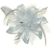 Peine de chifón de gris flor y plumas en plata. Ideal para bodas, Races