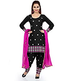 Black Cotton Embroidered Unstitched Dress Material