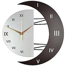 MagiDeal Horloge Murale Design Croissant Lune en Bois Fer Quartz Mouvement Décoration Intérieur