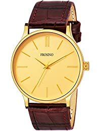Frosino FRAC101842 Brown Strap with Gold dial Analog Watch for Boys and Men