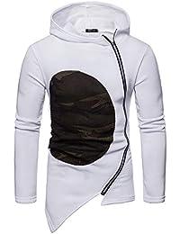TEBAISE Herren Slim Fit Hoodie Kapuzenpullover mit schrägem Zipper Sweatshirt Jacke Pullover Pulli