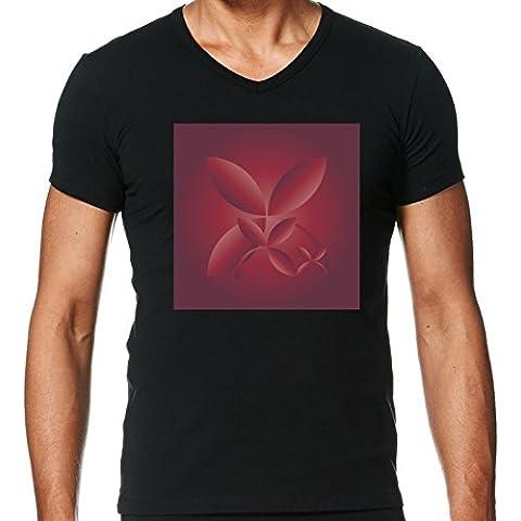 Camiseta V Cuello para Hombre - Carmesí Del Otoño by feiermar