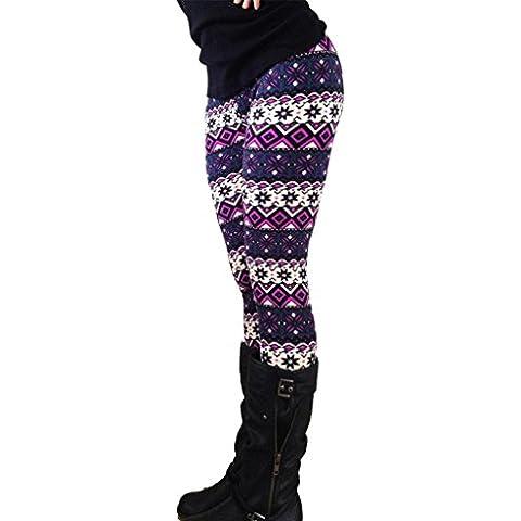 Tongshi Casual Women Lady Skinny Imprimir Stretchy Legging Pantalones Slim Leggings (L)