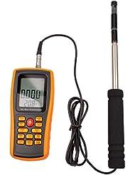 CkeyiN® Écran LCD numérique portable Vitesse du vent Température Anémomètre à fil chaud avec sonde, anémomètre à fil chaud