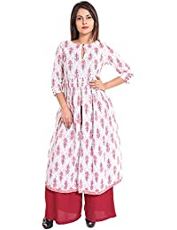 Gaurangi New Red White Block Floral Print Indo-Western Desigenr Cotton Anarkali Kurti Front Slit Rayon Palazzo...