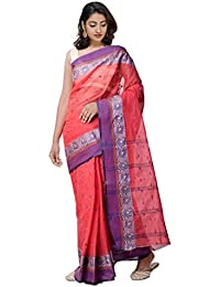 Unnati Silks Women's Bengal Handloom Cotton Tant Saree (UNM31904+Red+Free Size)