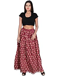 Fabcolors Smoothy And Silky Block Printed Cotton Long Skirt With Bottom PomPom Art Work (Red)