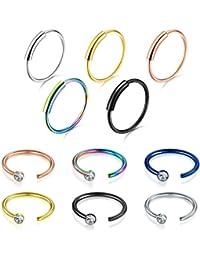 5-17pcs Nariz Piercing Anillos Nariz Aro Conjunto de Acero Quirúrgico 20 Gauge Piercing Joyería