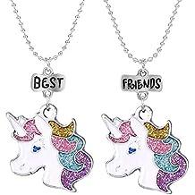 400c0030f4e5 Mejores Amigos Unicornio Colorido Amistad Collares para niños Joyas BFF Set  para 2 Niño Chicas