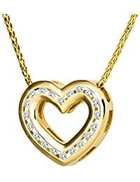 Diamond Line Goldkette mit Diamant Herz-Anhänger 585 Gold mit 20 Brillianten 0.20 ct. lupenrein