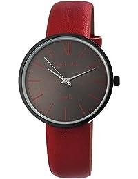 Reloj mujer gris rojo de color marrón Números Romanos analógico de cuarzo piel  Reloj de pulsera 905b89276cd5