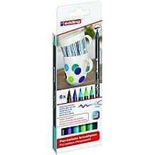 Edding 4200-6-S-099 - Estuche con 6 rotuladores para porcelana, gama azul/verde