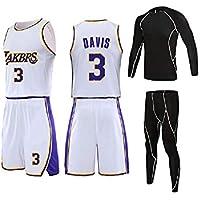 GBYN Bryant # 24, Lakers, Traje de Baloncesto de Cuatro Piezas Ropa de Entrenamiento Ajustada, Tela cómoda y transpirable-3-XXXXXL
