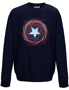 Felpa Girocollo Captain Capitan Logo Simbolo America Film Cinema Fumetto