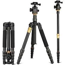 Trípode - LESHP Trípode Aluminio Ligero Viaje con Patas de 5 Secciones, 360 Grado Rótula de Bolda, 8kgs Capacidad de Carga, Altura extendida 160cm para Panasonic Canon Nikon Sony GoPro Fujifilm Kodak Cámara DSLR y DV