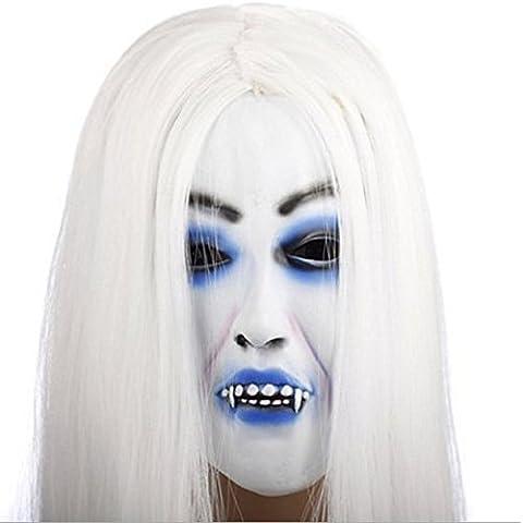 Máscara de Halloween de terror Súper apoyos Sadako cara azul máscara de vampiro máscara bruja blanca