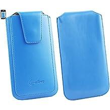 Emartbuy® Wolder miSmart WAVE4-GH 5 Inch Smartphone Sleek Range Light Azul Cuero PU de Lujo Funda Carcasa Case Tipo Bolsa ( Size 4XL ) con Cierre Magnético y Mecanismo de Pestaña para Estirar