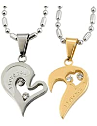 "Chaomingzhen Acier inoxydable 2pcs His & Hers ""I Love You"" couples coeur d'amour Colliers 2 chaîne"