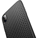 iPhone X TPU Hülle, ROCK iPhone X TPU Hülle Schutzhülle Silikon Case Bumper – Dot Serie Schutz vor Stürzen und Stößen Schutzhülle für iPhone X Case Cover - schwarz