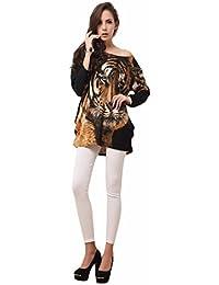 Tiger Head Print Vintage Long Sleeve Shirt Cashmere Damen Kleider Übergrößen