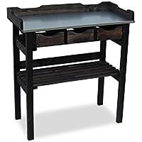 Table de jardinage en bois avec 3tiroirs Anthracite L78x P38x H82cm