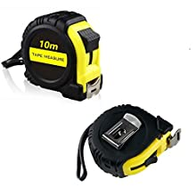 XFORT® 2 Pack 10 Metre Tape Measure, Retractable Professional Measuring Tape, Metric & Imperial Marking, Complete with Thumb Lock and Hook Clip, Essential Gadget for Home, Work and for The Toolbox